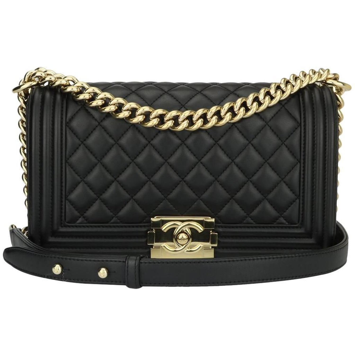 22f6c900b1e Chanel Old Medium Quilted Boy Black Lambskin with Shiny Gold Hardware