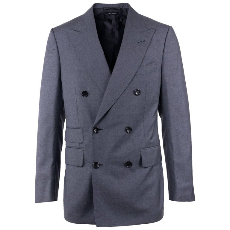 Tom Ford Men's Grey Pure Wool Double Breasted Two Piece Suit