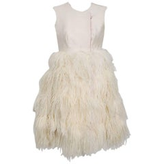 1960's Mr. Blackwell Ivory Silk and Ostrich-Feather Sleeveless Mod Mini Dress