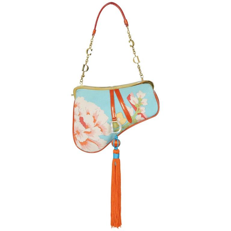 Christian Dior by John Galliano Silk Floral Mini Saddle Evening Bag 2003