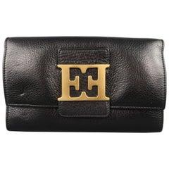 Escada Black Leather Gold Double E Flap Wallet