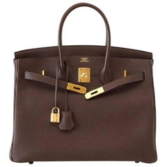Hermes Togo leather with gold hardware 2012 Date stamp square P Birkin 35 Bag