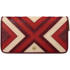 TORY BURCH Plum Red & Pink Patchwork Leather Zip Wallet