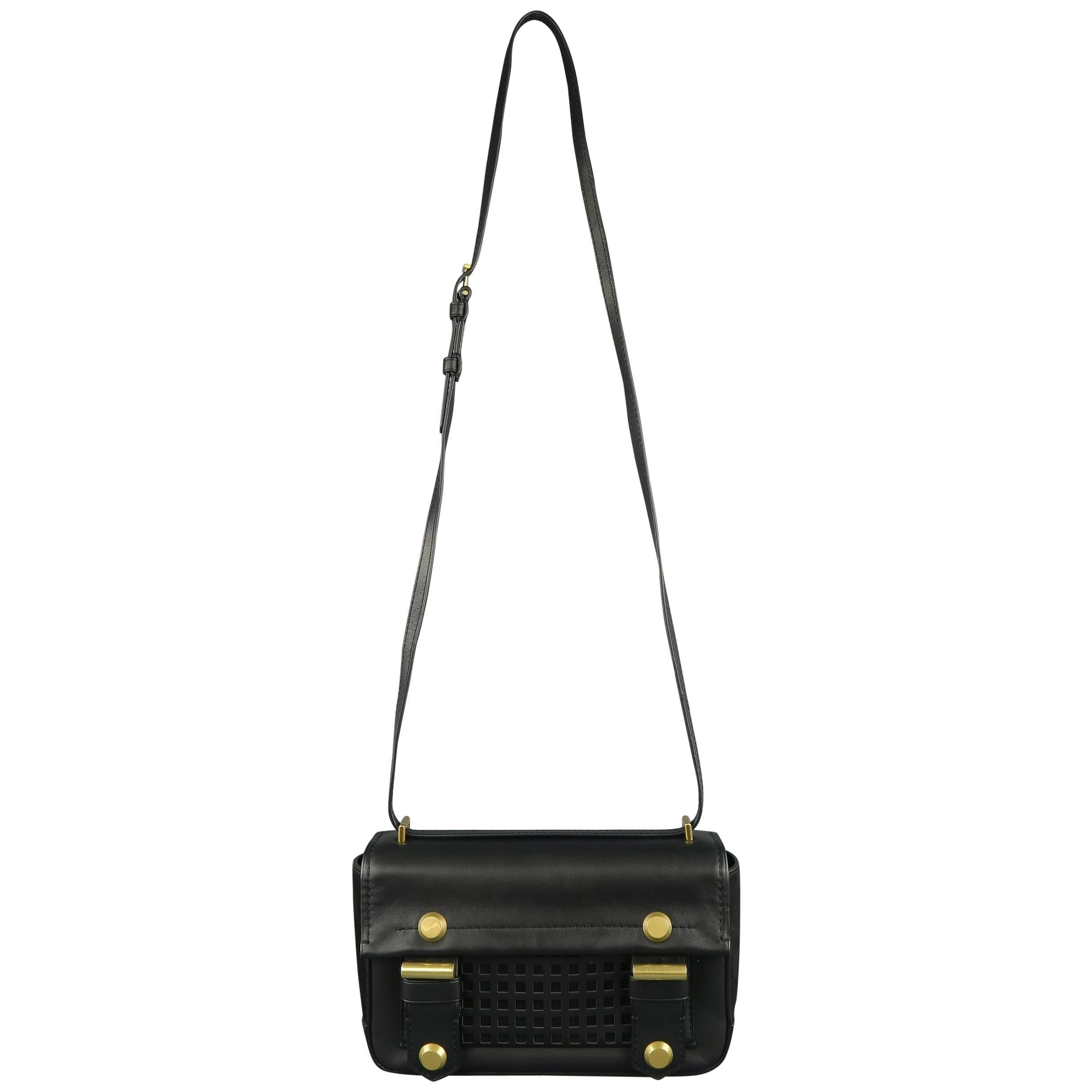 Reed Krakoff Black Leather Gold Brass Hardware Satchel Handbag D3OTP