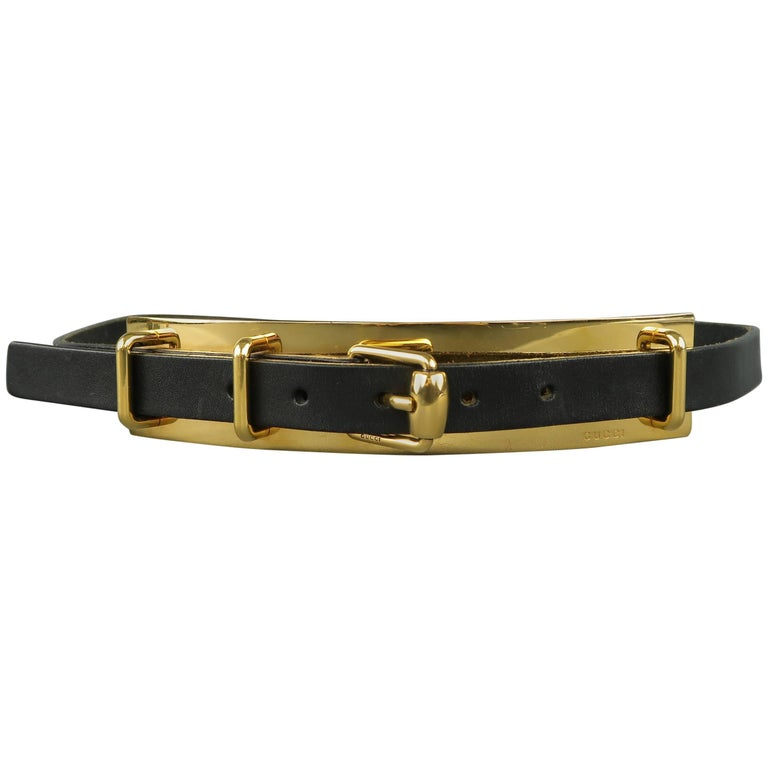 Gucci Black Leather Gold Metal Plate Buckle Belt For Sale