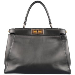 Fendi Black Leather Peekaboo Medium Handbag