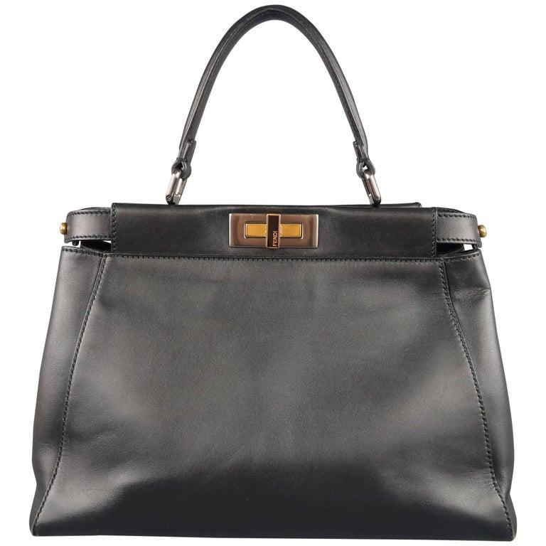 Fendi Black Leather Peekaboo Medium Handbag