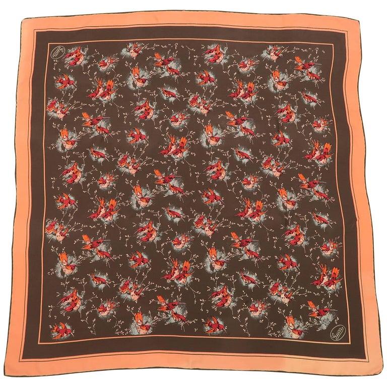 Gucci Vintage Brown and Coral Sparrow Bird Silk Scarf