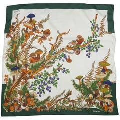 Loewe Vintage Green and Cream Autumn Mushroom Print Silk Scarf