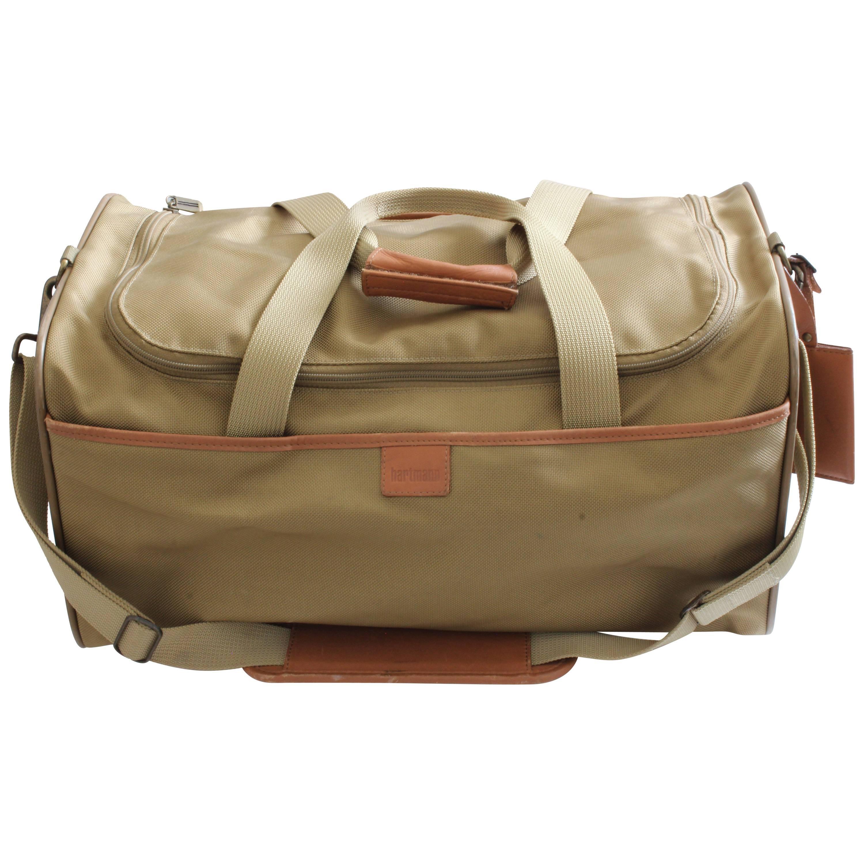 Hartmann 20in Duffel Bag Nylon Canvas Leather Travel Bag + Shoulder Strap  at 1stdibs 34cf3dc94110c
