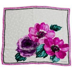 Rare Jean Patou Silk Jacquard Scarf Shawl Bold Floral Watercolor Print 35in