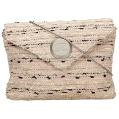 Chanel White Tweed Chain Envelope Bag