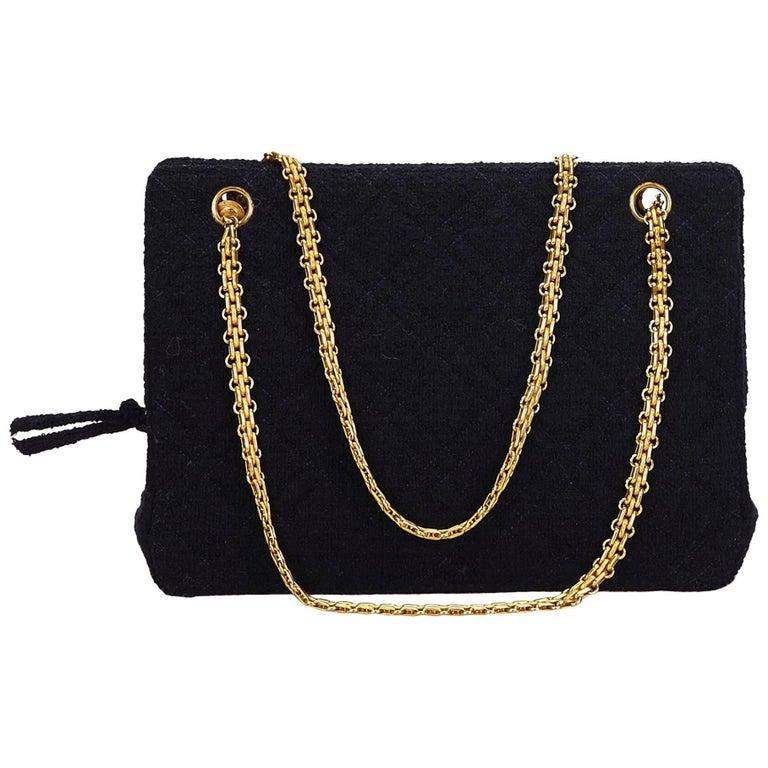 Chanel Blue Matelasse Cotton Shoulder Bag