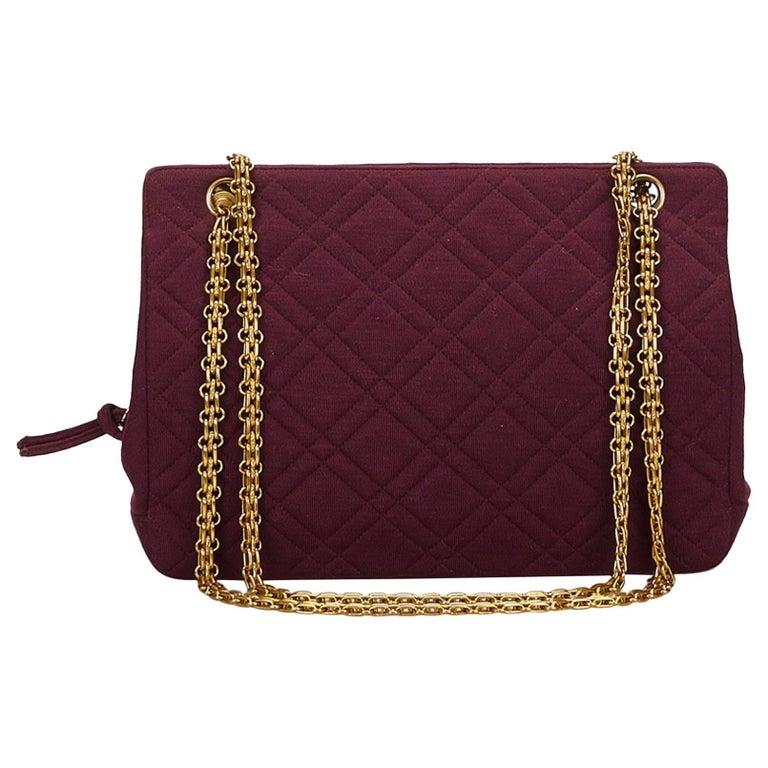 Chanel Red x Bordeau Matelasse Wool Shoulder Bag