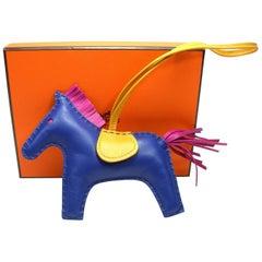 Hermes Rodeo Medium Size Horse Bag Charm Rare Bleu Saphir / Like New in Box