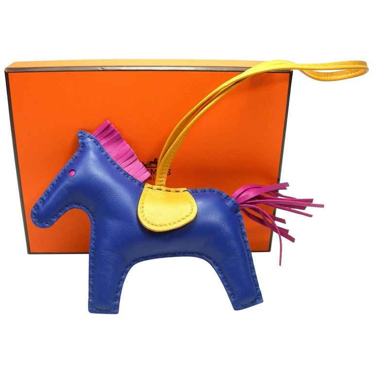 8028ea616251 Hermes Rodeo Medium Size Horse Bag Charm Rare Bleu Saphir   Like New in Box  For