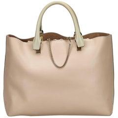 Chloe Brown x Beige Leather Baylee Tote Bag