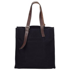 Hermes Navy x Brown Etriviere Shopping Tote