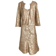 Jean Paul Gaultier Metallic Silk Jacquard  Dress with Jacket