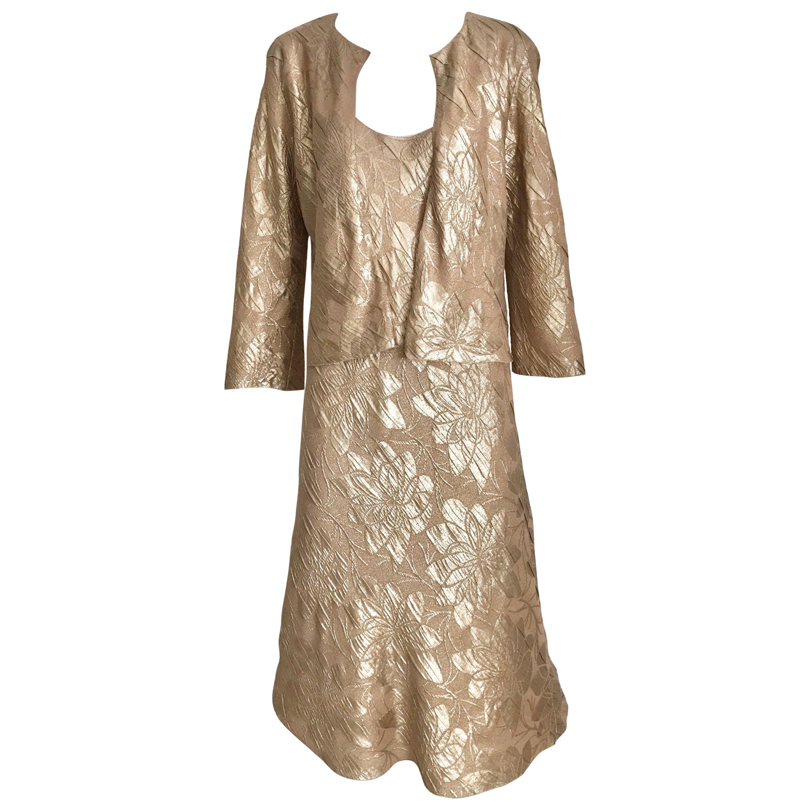 Jean Paul Gaultier Metallic Silk Jacquard  Dress with Jacket