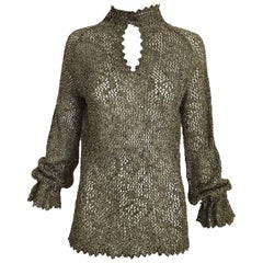 1970s Giorgio Di Sant Angelo Metallic Gold Knit Sweater top