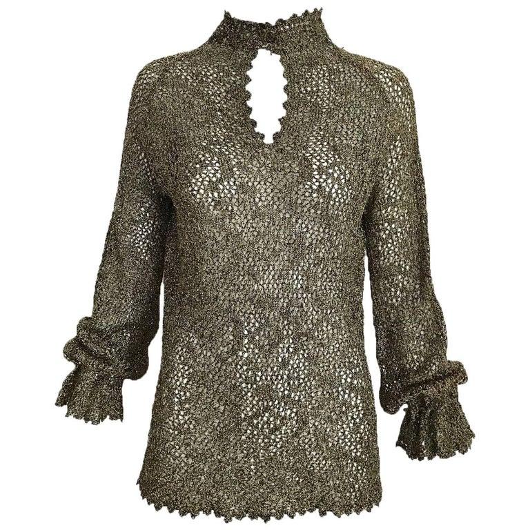 1970s Giorgio Di Sant Angelo Metallic Gold Knit Sweater top For Sale