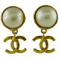 Chanel Vintage Faux Pearl Gold Tone Logo Drop Earrings Spring 1994