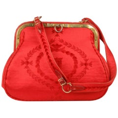 ROBERTA DI CAMERINO Vintage Red Cut Velvet Shoulder Bag