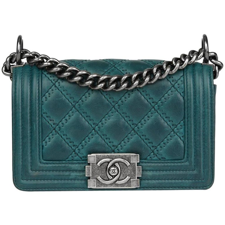 2014 Chanel Double-Stitch Quilted Aged Calfskin Leather Small Le Boy