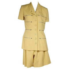 Yellow Vintage Karl Lagerfeld Culotte Shorts Suit Set