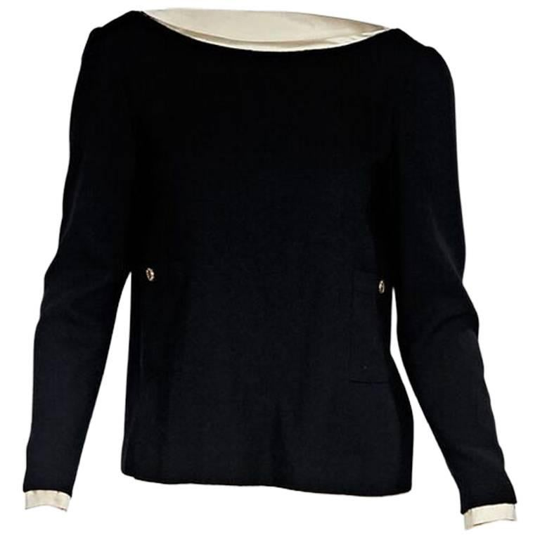 Black & Cream Chanel V-Back Blouse