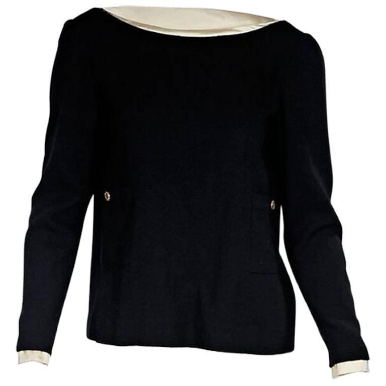 Black & Cream Chanel V-Back Blouse