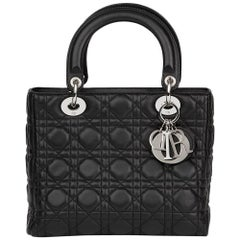 2008 Christian Dior Black Quilted Lambskin Lady Dior MM