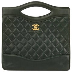 1989 Chanel Bottle Green Quilted Lambskin Vintage Top Handle With Chain