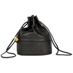 Chanel Vintage Black Lambskin Timeless Bucket Bag