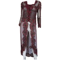 bordeaux sequin flower overcoat dress