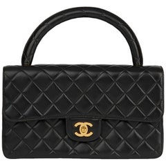 1996 Chanel Black Quilted Lambskin Vintage Medium Classic Kelly Flap Bag