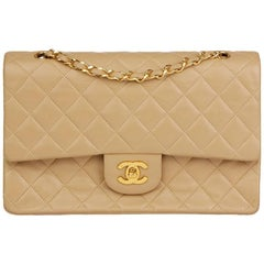 1991 Chanel Biege Quilted Lambskin Vintage Medium Classic Double Flap Bag