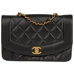 1994 Chanel Black Quilted Lambskin Vintage Small Diana Classic Single Flap
