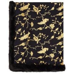 Limited Edition Verheyen London Embroidered Indian Love Mogul Shawl & Mink Fur