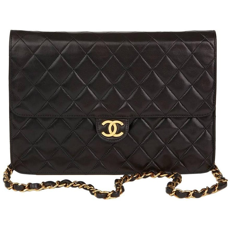 1994 Chanel Black Quilted Medium Vintage Classic Single Flap Bag