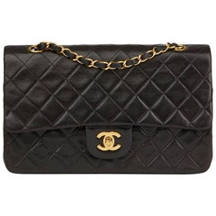 1997 Chanel Black Quilted Lambskin Vintage Small Classic Double Flap Bag