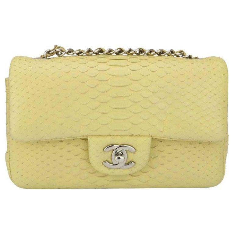 CHANEL Rectangular Mini Yellow Python Bag