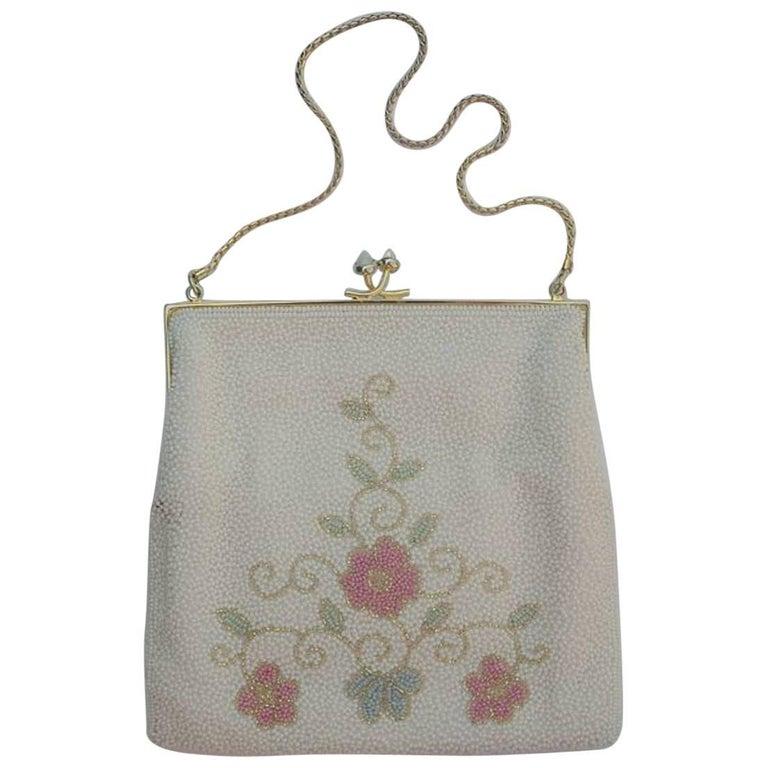 Vintage 1950s Pink Flower Beaded Bag