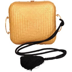 Elsa Peretti Gold and Silk Hand Woven Museum Held Bamboo Bag