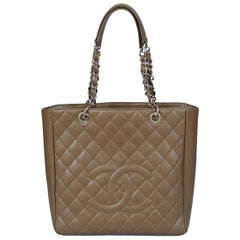 Chanel Large Taupe Caviar Leather Shopping Tote