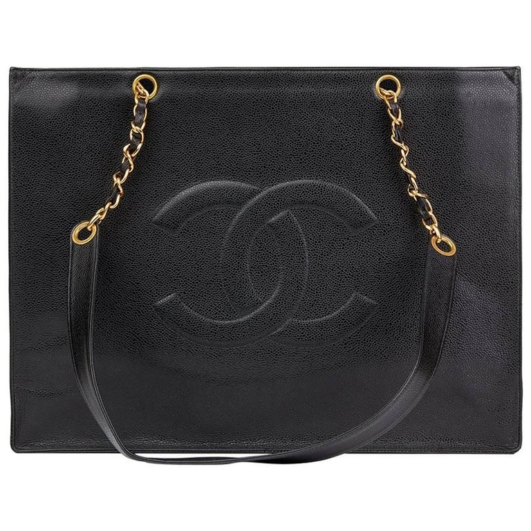 1996 Chanel Black Caviar Leather Vintage Jumbo XL Timeless Shopping Tote