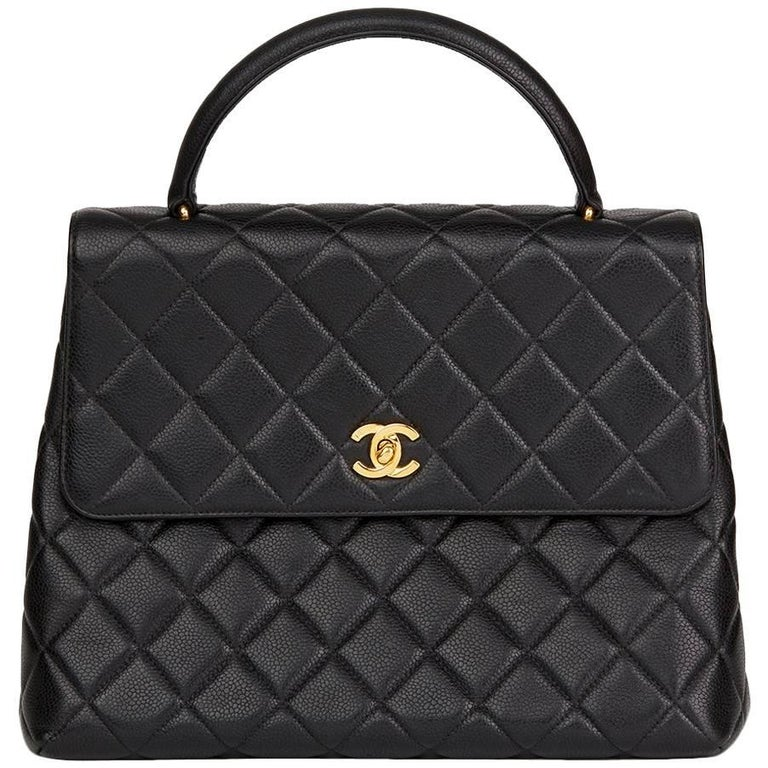 1996 Chanel Black Quilted Caviar Leather Vintage Classic Kelly Flap Bag