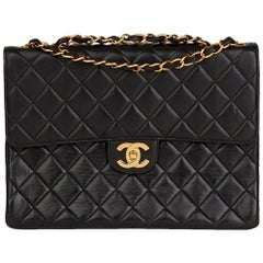 1997 Chanel Black Quilted Lambskin Vintage Jumbo Classic Single Flap Bag
