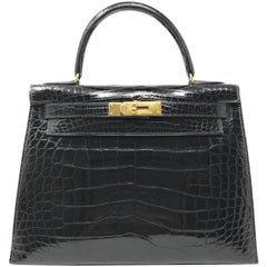 Hermes Kelly 28cm Black Shiny Alligator Bag